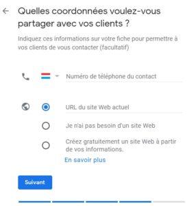 Coordonnées Google my Business