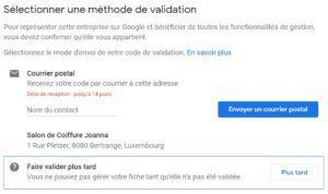 Validation Google my business